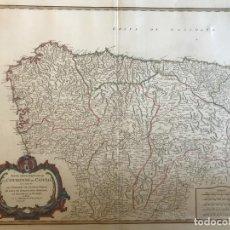 Arte: GRAN MAPA DE GALICIA, ASTURIAS, CANTABRIA, PAIS VASCO, NAVARRA Y CASTILLA (ESPAÑA), 1752. VAUGONDY. Lote 190768175