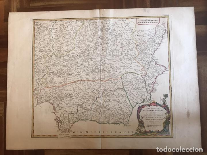 Arte: Gran mapa de Castilla, Extremadura, Andalucia, Murcia y Valencia (España), 1752. Vaugondy - Foto 2 - 190769193