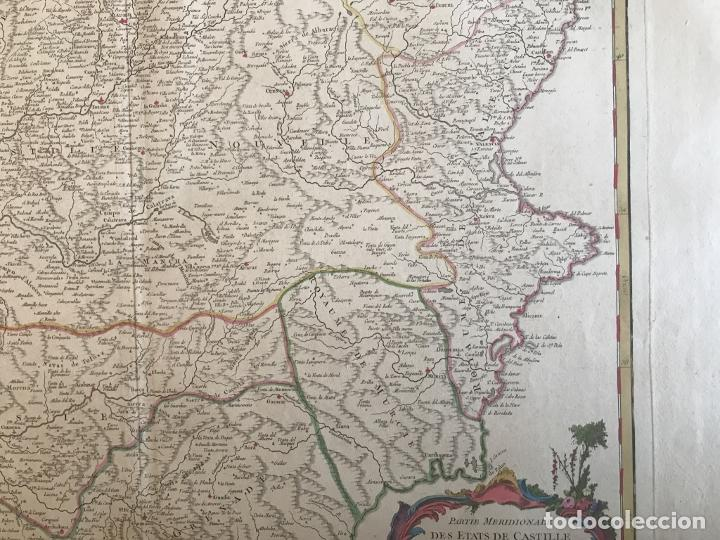 Arte: Gran mapa de Castilla, Extremadura, Andalucia, Murcia y Valencia (España), 1752. Vaugondy - Foto 6 - 190769193