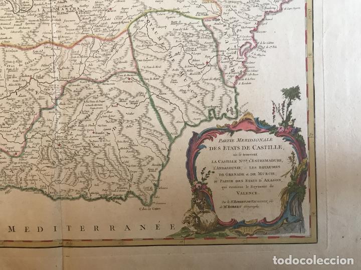 Arte: Gran mapa de Castilla, Extremadura, Andalucia, Murcia y Valencia (España), 1752. Vaugondy - Foto 7 - 190769193