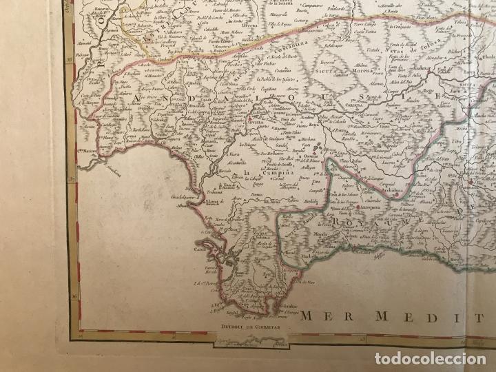 Arte: Gran mapa de Castilla, Extremadura, Andalucia, Murcia y Valencia (España), 1752. Vaugondy - Foto 9 - 190769193