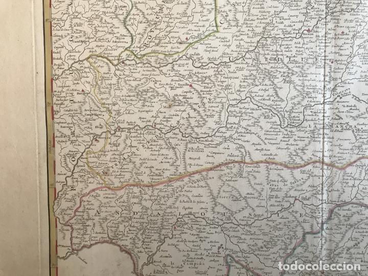 Arte: Gran mapa de Castilla, Extremadura, Andalucia, Murcia y Valencia (España), 1752. Vaugondy - Foto 10 - 190769193