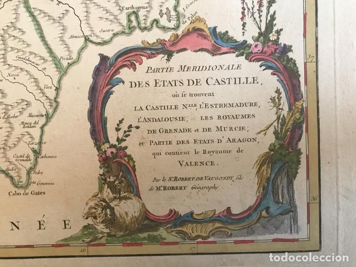 Arte: Gran mapa de Castilla, Extremadura, Andalucia, Murcia y Valencia (España), 1752. Vaugondy - Foto 12 - 190769193