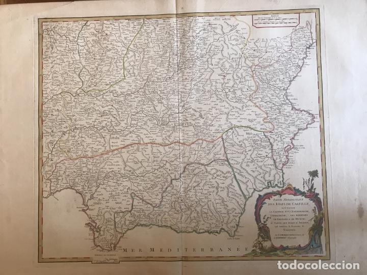 GRAN MAPA DE CASTILLA, EXTREMADURA, ANDALUCIA, MURCIA Y VALENCIA (ESPAÑA), 1752. VAUGONDY (Arte - Cartografía Antigua (hasta S. XIX))