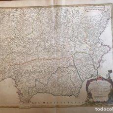 Arte: GRAN MAPA DE CASTGILLA, EXTREMADURA, ANDALUCIA, MURCIA Y VALENCIA (ESPAÑA), 1752. VAUGONDY. Lote 190769193