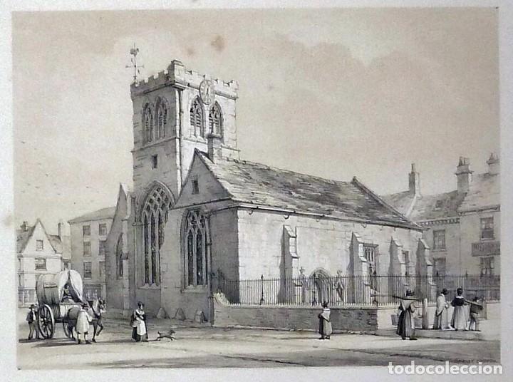 Arte: 1843 - Iglesias de York con personajes y carruajes - 12 Grabados Reino Unido Inglaterra - Foto 2 - 190803818