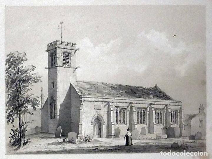 Arte: 1843 - Iglesias de York con personajes y carruajes - 12 Grabados Reino Unido Inglaterra - Foto 3 - 190803818