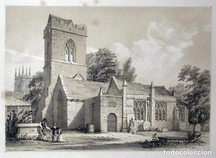 Arte: 1843 - Iglesias de York con personajes y carruajes - 12 Grabados Reino Unido Inglaterra - Foto 4 - 190803818