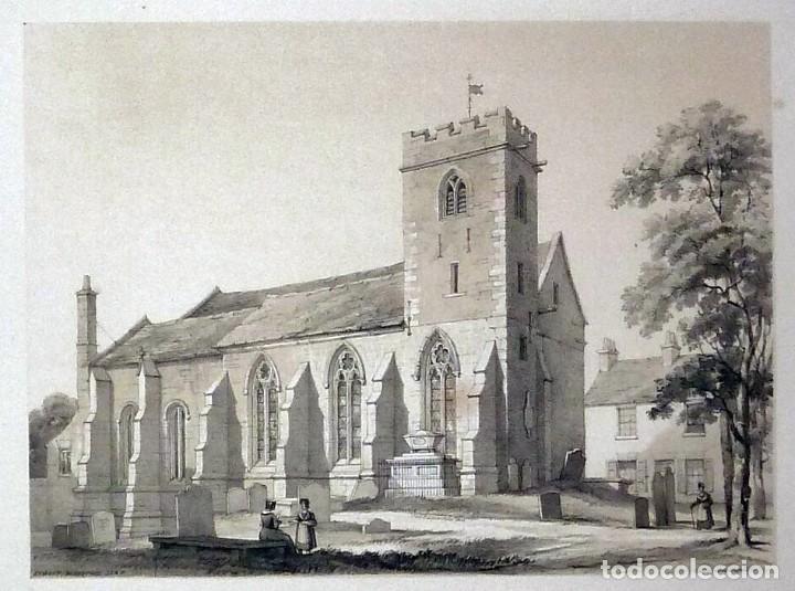 Arte: 1843 - Iglesias de York con personajes y carruajes - 12 Grabados Reino Unido Inglaterra - Foto 5 - 190803818