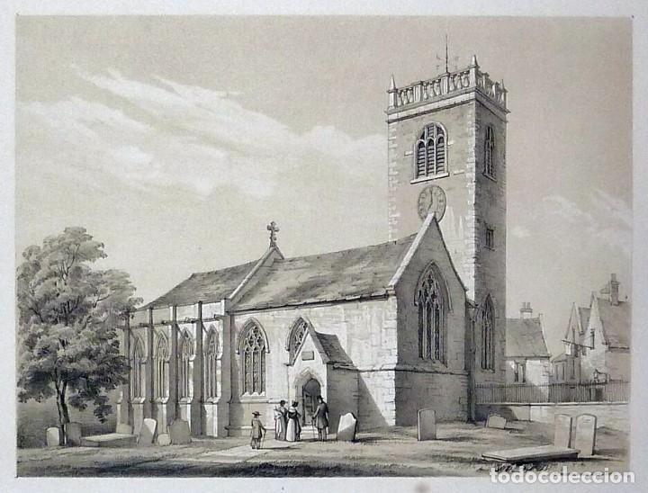 Arte: 1843 - Iglesias de York con personajes y carruajes - 12 Grabados Reino Unido Inglaterra - Foto 6 - 190803818