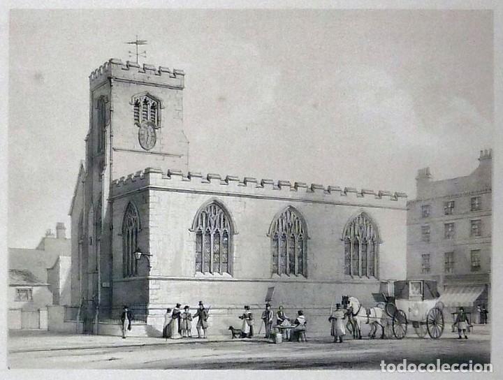 Arte: 1843 - Iglesias de York con personajes y carruajes - 12 Grabados Reino Unido Inglaterra - Foto 8 - 190803818