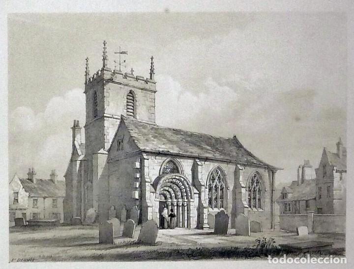 Arte: 1843 - Iglesias de York con personajes y carruajes - 12 Grabados Reino Unido Inglaterra - Foto 10 - 190803818