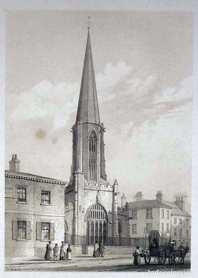 Arte: 1843 - Iglesias de York con personajes y carruajes - 12 Grabados Reino Unido Inglaterra - Foto 11 - 190803818