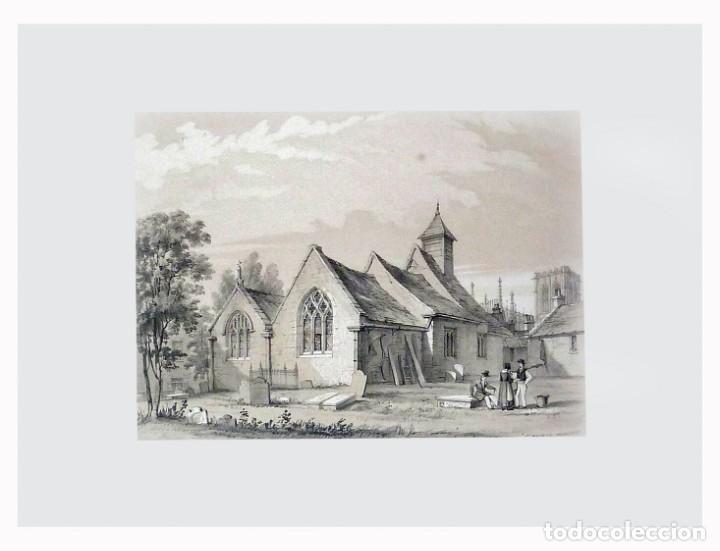 Arte: 1843 - Iglesias de York con personajes y carruajes - 12 Grabados Reino Unido Inglaterra - Foto 12 - 190803818