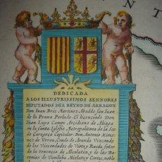 Arte: ESPLÉNDIDO MAPA ARAGÓN,ORIGINAL, HONDIUS Y LABANNA, 1633 ,GRAN TAMAÑO, PERFECTO COLOREADO.. Lote 191098697