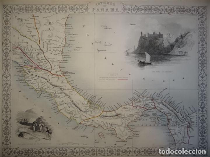Arte: Mapa del istmo de Panamá (América central), ca. 1851. Tallis/Rapkin/Wrigtson y Warren - Foto 2 - 249539780
