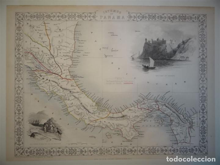 Arte: Mapa del istmo de Panamá (América central), ca. 1851. Tallis/Rapkin/Wrigtson y Warren - Foto 3 - 249539780