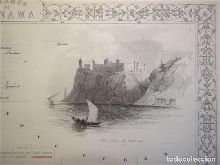 Arte: Mapa del istmo de Panamá (América central), ca. 1851. Tallis/Rapkin/Wrigtson y Warren - Foto 6 - 249539780