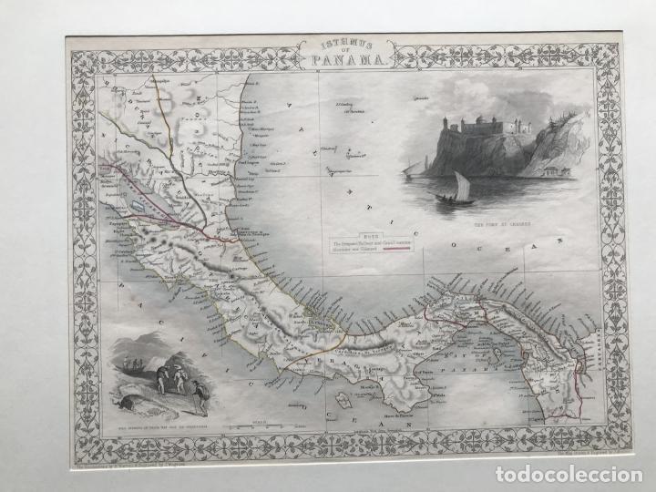 Arte: Mapa del istmo de Panamá (América central), ca. 1851. Tallis/Rapkin/Wrigtson y Warren - Foto 10 - 249539780