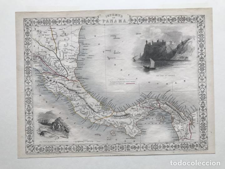Arte: Mapa del istmo de Panamá (América central), ca. 1851. Tallis/Rapkin/Wrigtson y Warren - Foto 11 - 249539780