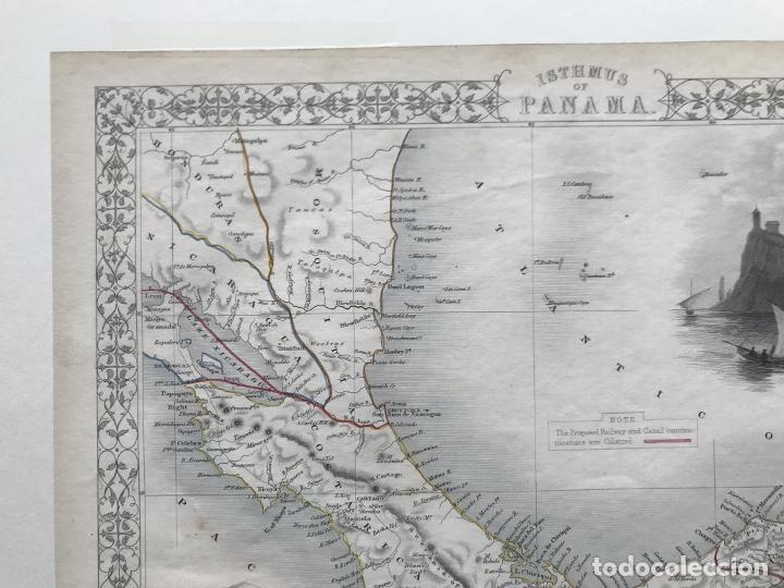 Arte: Mapa del istmo de Panamá (América central), ca. 1851. Tallis/Rapkin/Wrigtson y Warren - Foto 12 - 249539780