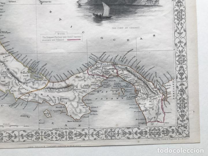 Arte: Mapa del istmo de Panamá (América central), ca. 1851. Tallis/Rapkin/Wrigtson y Warren - Foto 14 - 249539780