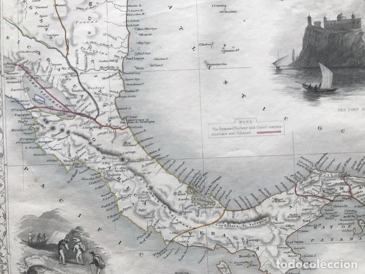 Arte: Mapa del istmo de Panamá (América central), ca. 1851. Tallis/Rapkin/Wrigtson y Warren - Foto 16 - 249539780