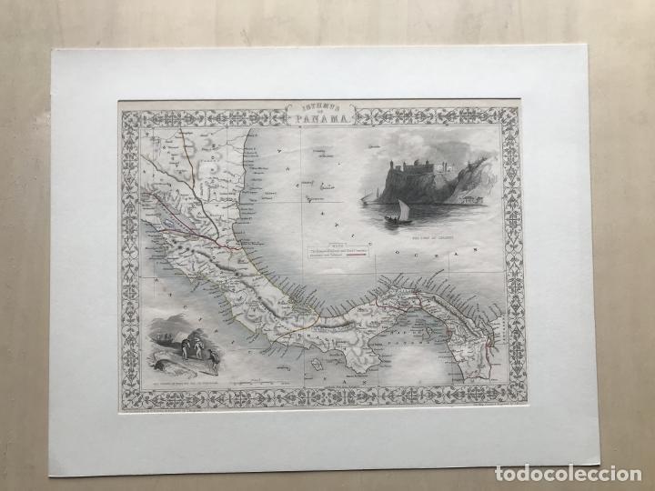 MAPA DEL ISTMO DE PANAMÁ (AMÉRICA CENTRAL), CA. 1851. TALLIS/RAPKIN/WRIGTSON Y WARREN (Arte - Cartografía Antigua (hasta S. XIX))