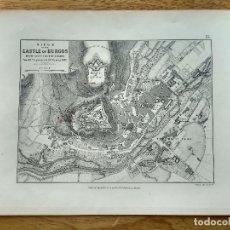 Arte: MAPA DEL SITIO AL CERRO DEL CASTILLO DE BURGOS DURANTE LA GUERRA DE INDEPENDENCIA - 1812. Lote 191447807