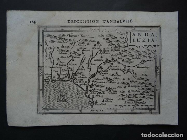 Arte: Mapa de la Andalucía occidental (España), 1616. Bertius/Hondius - Foto 2 - 191463688