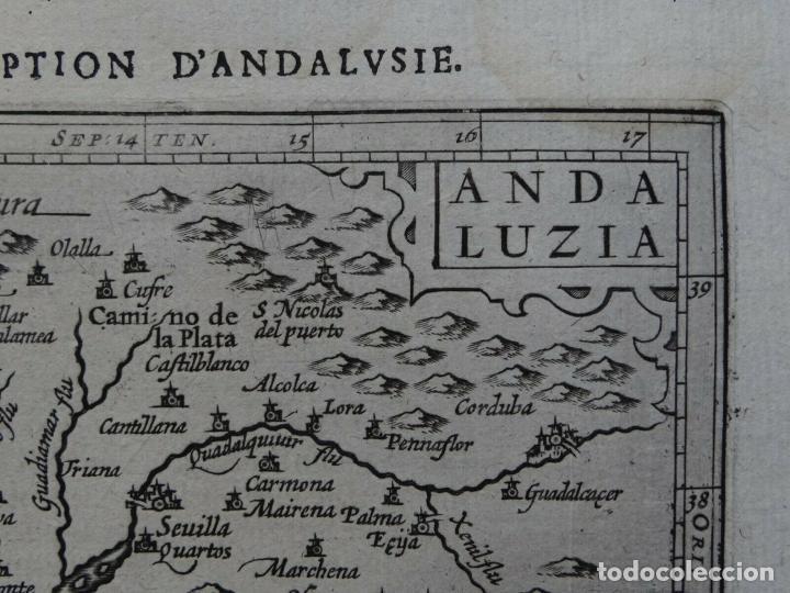Arte: Mapa de la Andalucía occidental (España), 1616. Bertius/Hondius - Foto 3 - 191463688