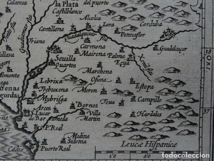 Arte: Mapa de la Andalucía occidental (España), 1616. Bertius/Hondius - Foto 5 - 191463688