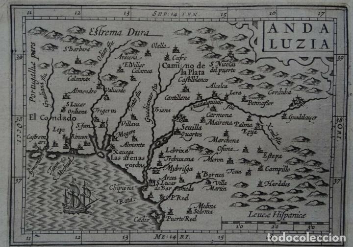 Arte: Mapa de la Andalucía occidental (España), 1616. Bertius/Hondius - Foto 7 - 191463688