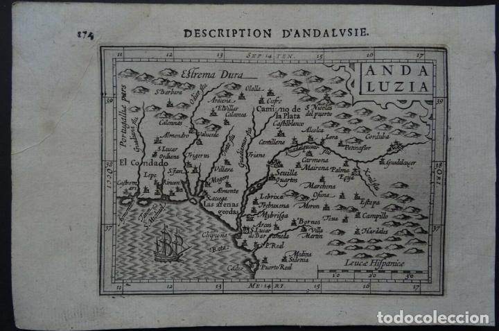 MAPA DE LA ANDALUCÍA OCCIDENTAL (ESPAÑA), 1616. BERTIUS/HONDIUS (Arte - Cartografía Antigua (hasta S. XIX))