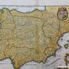 Arte: MAPA DE LA PENINSULA, ORIGINAL,1646 [S.17], MATHIAS MERIAN, BUEN TAMAÑO. Lote 191603312