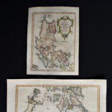Arte: ISLAS FILIPINAS, 2 MAPAS POR BELLIN, 1752, CARTE DES ISLES PHILIPPINES 1RE. & 2E. FEUILLE. Lote 191886391