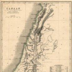 Arte: MAPA COLOREADO A MANO DE 1862, DE CANAÁN EN LA ERA DE LOS PATRIARCAS HEBREOS, ABRAHAM, GRABADO ACERO. Lote 191911526
