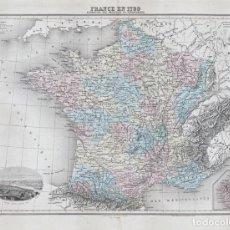 Arte: MAPA DE FRANCIA EN 1789. LITOGRAFÍA COLOREADA DE 1894, DE LACOSTE Y L. SMITH. ATLAS MIGEON. Lote 191928430