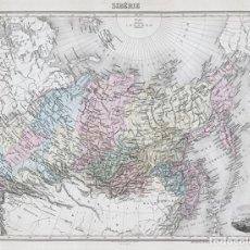 Arte: MAPA DE LA RUSIA ASIÁTICA (SIBERIA), DE 1894. LITOGRAFÍA COLOREADA DE LACOSTE Y SMITH. ATLAS MIGEON. Lote 191957400