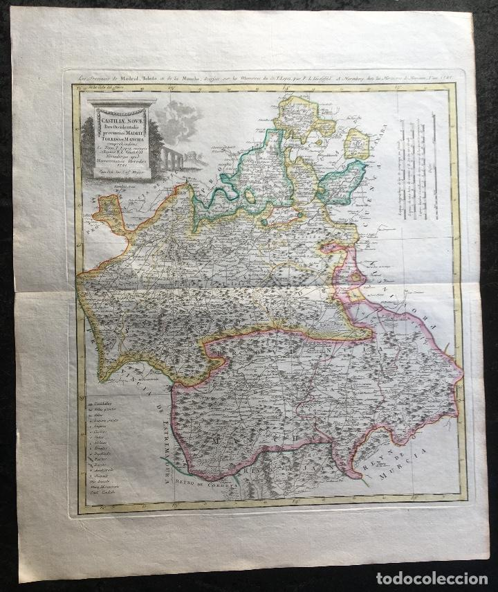 MAPA 1781 PROVINCIAS DE MADRID - TOLEDO - MANCHA - ORIGINAL - TOMÁS LÓPEZ / HOMANN - COLOREADO (Arte - Cartografía Antigua (hasta S. XIX))