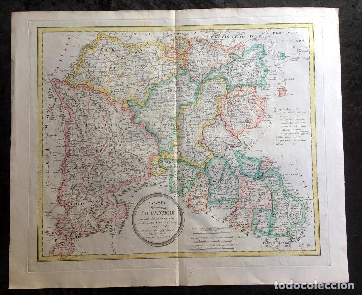MAPA 1801 - PROVINCIA SALAMANCA - CHARTA SALAMANTICAM - TOMÁS LÓPEZ / HOMANN - COLOREADO (Arte - Cartografía Antigua (hasta S. XIX))