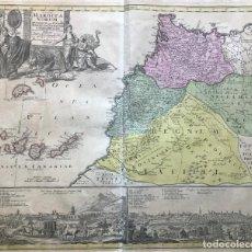 Arte: GRAN MAPA DE MARRUECOS (ÁFRICA) ISLAS CANARIAS Y MADEIRA (ESPAÑA Y PORTUGAL), 1728. J. C. HOMANN. Lote 192781262