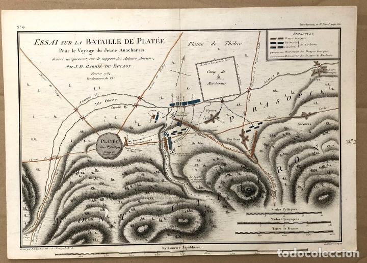 MAPA ESSAI SUR LA BATAILLE DE PLATÉE. GRECIA. PAR J.D. BARBIE DU BOCAGE. C. 1800 (Arte - Cartografía Antigua (hasta S. XIX))