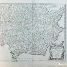 Arte: AÑO 1751 - ROBERT DE VAUGONDY MAPA DE ESPAÑA PARTE MERIDIONAL CASTILLA - CARTOGRAFÍA ATLAS. Lote 194680405