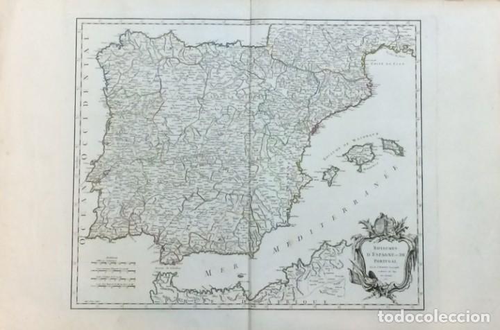 AÑO 1750 - ROBERT DE VAUGONDY MAPA DE LOS REINOS DE ESPAÑA Y PORTUGAL - CARTOGRAFÍA ATLAS (Arte - Cartografía Antigua (hasta S. XIX))