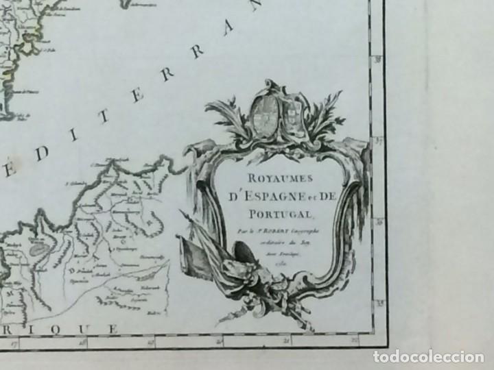 Arte: AÑO 1750 - ROBERT DE VAUGONDY MAPA DE LOS REINOS DE ESPAÑA Y PORTUGAL - CARTOGRAFÍA ATLAS - Foto 2 - 194680685
