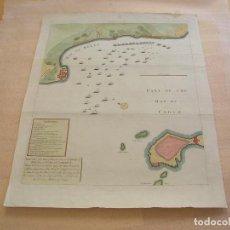 Arte: MAPA DE LA BAHÍA DE CÁDIZ. BATALLA DE 1702. Lote 195119406