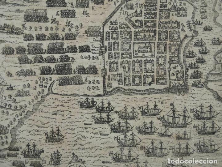 Arte: Plano y vista de Santo Domingo (R. Dominicana, América), 1655. De Bry/Merian/Gottfried - Foto 2 - 195273377