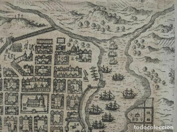 Arte: Plano y vista de Santo Domingo (R. Dominicana, América), 1655. De Bry/Merian/Gottfried - Foto 4 - 195273377