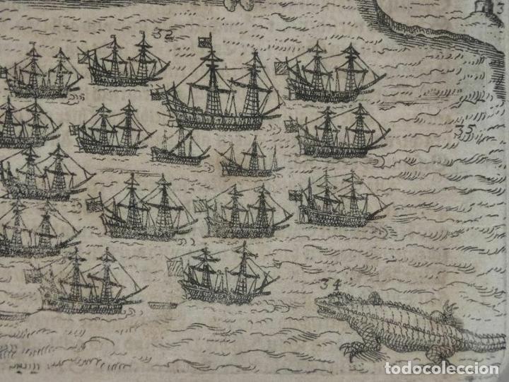 Arte: Plano y vista de Santo Domingo (R. Dominicana, América), 1655. De Bry/Merian/Gottfried - Foto 5 - 195273377